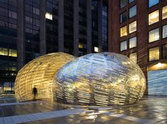 Brooklyn, NYC-based StudioKCA has constructed an interesting pavilion that reflects the trajectory of satellites orbiting the Earth. Commissioned by NASA, the Orbit Pavilion resembles an oversized metal nautilus shell and features an immersive soundtrack.