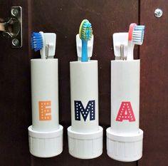 Möbel selbst bauen Zahnbürste Halter Schranktür