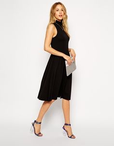 Image 4 of ASOS Midi Skater Dress with Turtleneck and Cutaway Arm