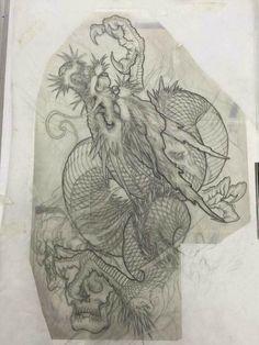 Hình xăm rồng Dragontatoo design #designtattoo #dragontattoo