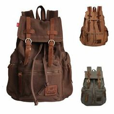 Men/Women's Vintage Canvas Leather backpack Rucksack laptop Satchel School bag