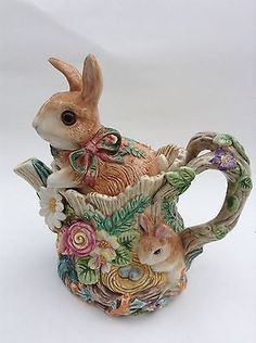 Retired-Woodland-Spring-Fitz-Floyd-Teapot-Bunnies-AS-IS