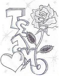 dibujos a lapiz de graffitis de te quiero - Buscar con Google