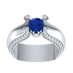 1.6 ct Blue Sapphire Solitaire Engagement Two Tone Ring in 14kt Gold Over Silver #RegaaliaJewels #Solitaire