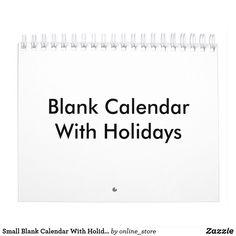 Small Blank Calendar With Holidays