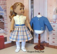 https://flic.kr/p/Sr6pHV | 2pc. 1950s Spring outfit fits American Girl Doll | Dress with belt and fully lined jacket with asymmetrical front.