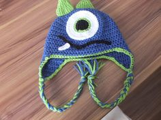 Crochet Monster Beanie with Silly Face Size Newborn - Infant - Baby - Child