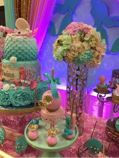 You have to see this mermaid baby shower party! See more party planning ideas at… Mermaid Baby Shower Decorations, Mermaid Baby Showers, Baby Mermaid, Baby Shower Favors, Baby Shower Themes, Shower Ideas, Fiesta Shower, Shower Party, Baby Shower Parties
