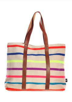 Stripes canvas + leather tote