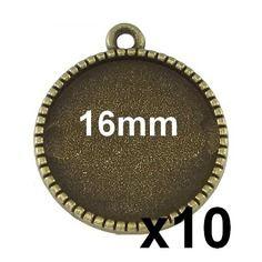10 supports pendentif bronze serti pour cabochon 16mm mod640