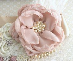 Bridal Sash Sash in Blush Pink Ivory Champagne and by SolBijou
