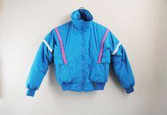 70 s / 80 s manteau Ski pastel, Vintage Bas remplis Puffer recadrée manteau d