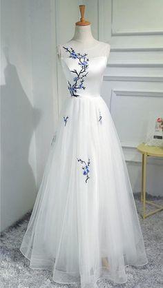 Charming Prom Dress, Elegant Tulle Prom Dresses, Floor