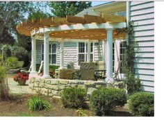 Perfect Patio Projects for fall - half circle pergola. GoGoGarden.net