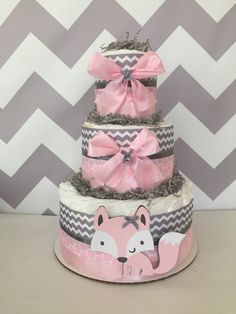 Woodland Diaper Cake in Pink and Grey, Fox Baby Shower Centerpiece in Pink and Gray by AllDiaperCakes on Etsy https://www.etsy.com/listing/236654577/woodland-diaper-cake-in-pink-and-grey