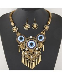 Vintage Eye Balls Theme Floral Pattern with Tassel Design Fashion Necklace and Earrings Set - Golden