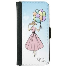 Vintage Fashionillustration Balloon Monogram iPhone 6/6s Wallet Case - glitter glamour brilliance sparkle design idea diy elegant