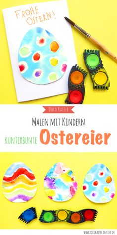 Painting with children: tulip made of glue and water colors – Doro Kaiser Graphics & illustration - Malen Christmas Decorations For Kids, Christmas Diy, Drops Patterns, New Baby Cards, Coloring Easter Eggs, Easter Colors, Home Grown Vegetables, Diy Tattoo, Pattern Making