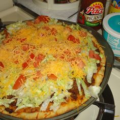 Pizza Hut Retro Taco Pizza Recipe | Make with no meat or cheese and this becomes vegan.  Use hot sauce.