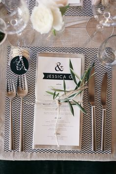 Love the modern feel of the stationary design, but with the rustic feel woven into it very subtly with the leaves, string, tone of napkin