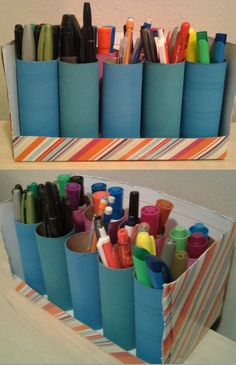 Pen/marker holder made out of a Kleenex box & toilet paper rolls