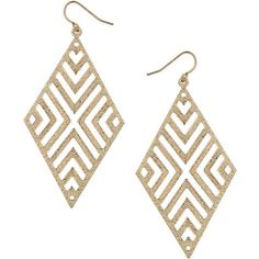 Dorothy Perkins Glitter Aztec Earrings found on Polyvore