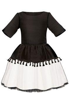 929a2a0c5b81 Black   White Raw Silk Full Girls Dress with Tassels and Lush Bow. Lazy  Francis