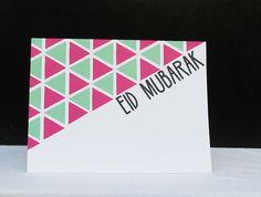 Handmade Eid Mubarak Greeting Card Triangles by CrescentandDawn, Eid Cards, Eid Card