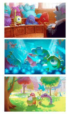 Mais artes do filme Monsters University Disney Pixar, Disney Animation, Disney And Dreamworks, Disney Art, Pixar Concept Art, Disney Concept Art, Illustrations, Illustration Art, Storyboard