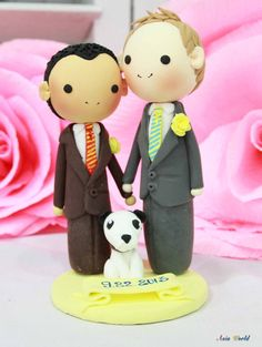 Gay Wedding Cake topper clay doll , Same sex Clay Couple with puppy, wedding clay figurine decoration, rings holder clay miniature
