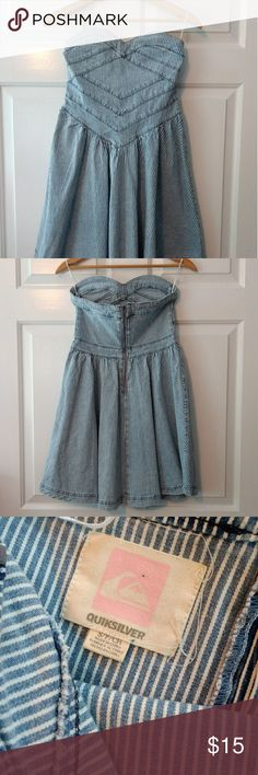 Adorable striped, strapless, denim dress! I wish this dress fit me, but it's too small in the chest, so I'm re-poshing it, hoping it finds a loving home. It's a short, flattering dress meant to show off some leg. Quicksilver Dresses Mini