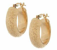 EternaGold Domed Crystal Cut Hoop Earrings 14K Yellow Gold  #MIGM
