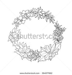 Black and white vintage detailed flower wreath