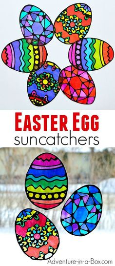Make stained glass Easter egg suncatchers with kids! This craft comes with four free printable Easter egg designs and makes for a quick and easy way to decorate windows for Easter. #easter #eastercrafts #kidscraft #suncatchers #preschool