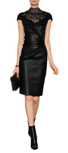 A tough-luxe take on after-dark dressing, this exquisite leather sheath from Jitrois features peek-a-boo top paneling and an alluring high neckline #Stylebop