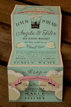 Cloud Themed Wedding Invitation By Dottie Creations Featuring Hot Air Balloon More Information At Http