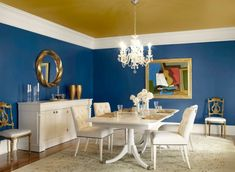 Dark grey dining room paint colors with white furniture Blue Dining Room Paint, Green Dining Room, Dining Room Colors, Dining Room Walls, Dining Room Design, Living Room, Design Room, Kitchen Colors, Bedroom Colors