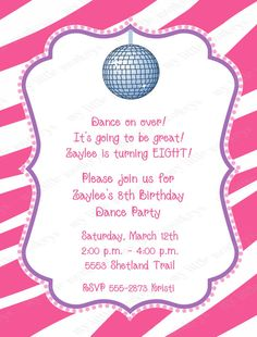 Dance Party Birthday Invitation -- 5x7 Printable Birthday ...