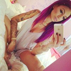 I love this color especially on the straight hair with her thin frame. It all just works great. The color is a beautiful shade though. #hair #color #haircolor #fashion #dye #girl #sexy #hot #tattoo #tattoos #ink #tat #piercing