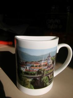 Half Cup Coffee Mug From Portugal Writing is in Portugese NEW