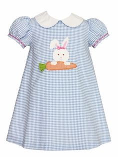 26f8ea0625fe1 Claire & Charlie Infant / Toddler Girls Blue Check Easter Bunny Carrot  Float Dress Toddler Easter