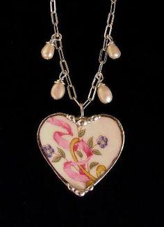 Broken China Jewelry heart pendant necklace forget me nots, pink ribbon Ceramic Jewelry, Glass Jewelry, Jewelry Necklaces, Porcelain Jewelry, Jewlery, Geek Jewelry, Gothic Jewelry, Pandora Jewelry, Charm Bracelets