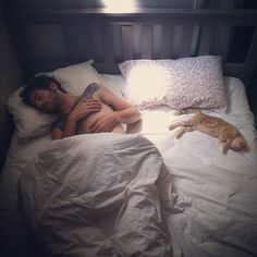 In bed with the cat.