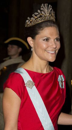 HRH Crown Princess Victoria of Sweden  wearing the unusual, but extremely lovely, cut steel tiara on her state visit to Portugal.  10/1/2013