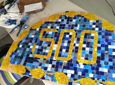 My pre-grouted street number :) I love glass