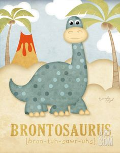 Brontosaurus Art Print by Jennifer Pugh at Art.com