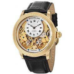 Stuhrling Original Men's 368B.33352 Symphony Aristocrat Gemini II Automatic Skeleton Gold Tone Black Leather Strap Watch