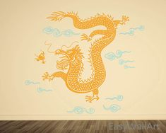 Dragon Wall Decal, Chinese Dragon Wall Art, Vinyl Asian Dragon Wall Decor Sticker,& Drangon Decal Art #A30