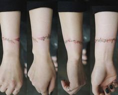 Flower wristband tattoo covering a scar.