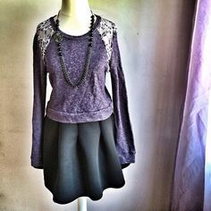 """Purple Lace Cropped Sweatshirt OFFERS WELCOME. PLEASE USE THE OFFER BUTTON. I do not negotiate price in the comments. Lightweight, soft sweatshirt with lace inset detail. Heathered purple color. Marked large, but runs very small. Fits like a medium or small. Cropped. Length is 17"""". Bustline is 17.5"""" across. Sleeves are 24"""" long. Has some stretch. Material is 67% cotton, 33% polyester. In great pre-loved condition. Tops Sweatshirts & Hoodies"""